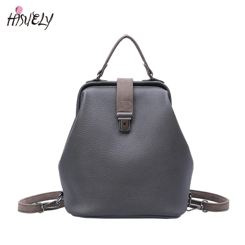 HISUELY 2017 New Fashion European style Women Doctor Women Backpack HASP Belt Bags Women