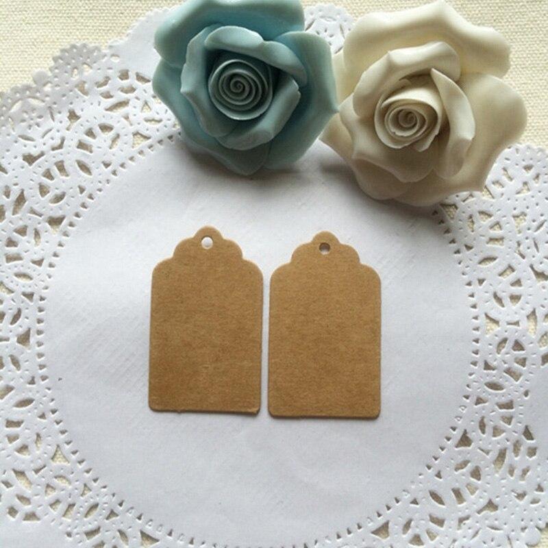 MINI GIFT TAGS Kraft Brown Blank Scallop Party Bombonieres Wedding DIY 25 pcs