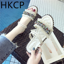 HKCP Rhinestone flat-bottomed female sandals and slippers 2019 summer new ladies non-slip beach shoes C287