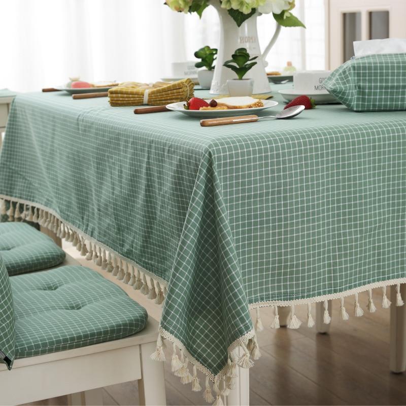 Tela japonesa de alta calidad cubierta de tabla cuadrícula raya pequeño borla mantel de comercio exterior Sit Room té mantel de tela
