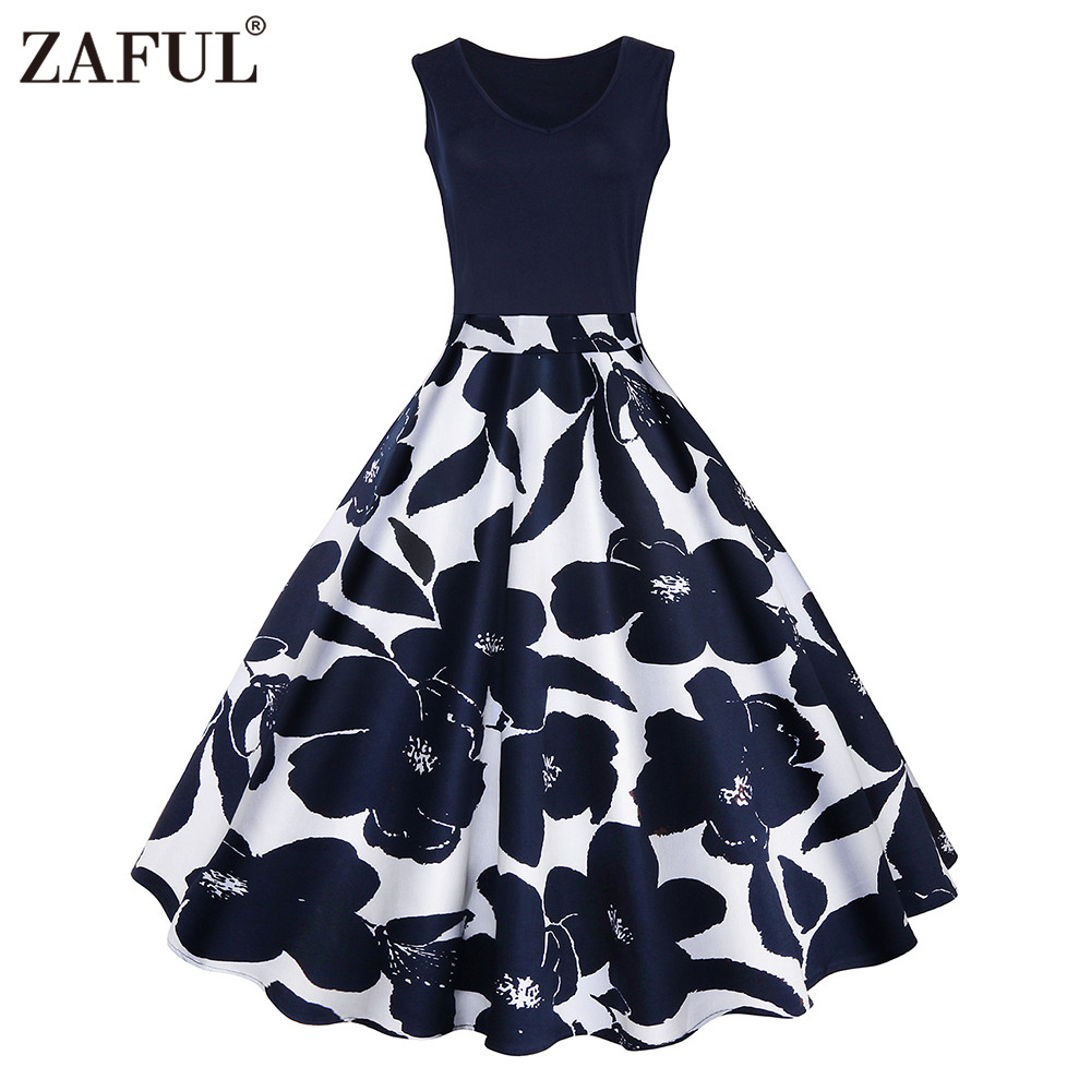zaful 4 color s 5xl floral print high waist vintage dress women 2017 summer vestido de festa. Black Bedroom Furniture Sets. Home Design Ideas