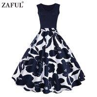 ZAFUL Floral Print High Waist Vintage Dress Women 2017 Summer Vestido De Festa Robe Femme Female