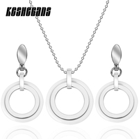 New Design Simple Style Ceramic Stainless Steel Double Circle Round Jewelry Set Pendant Necklace Earrings Set