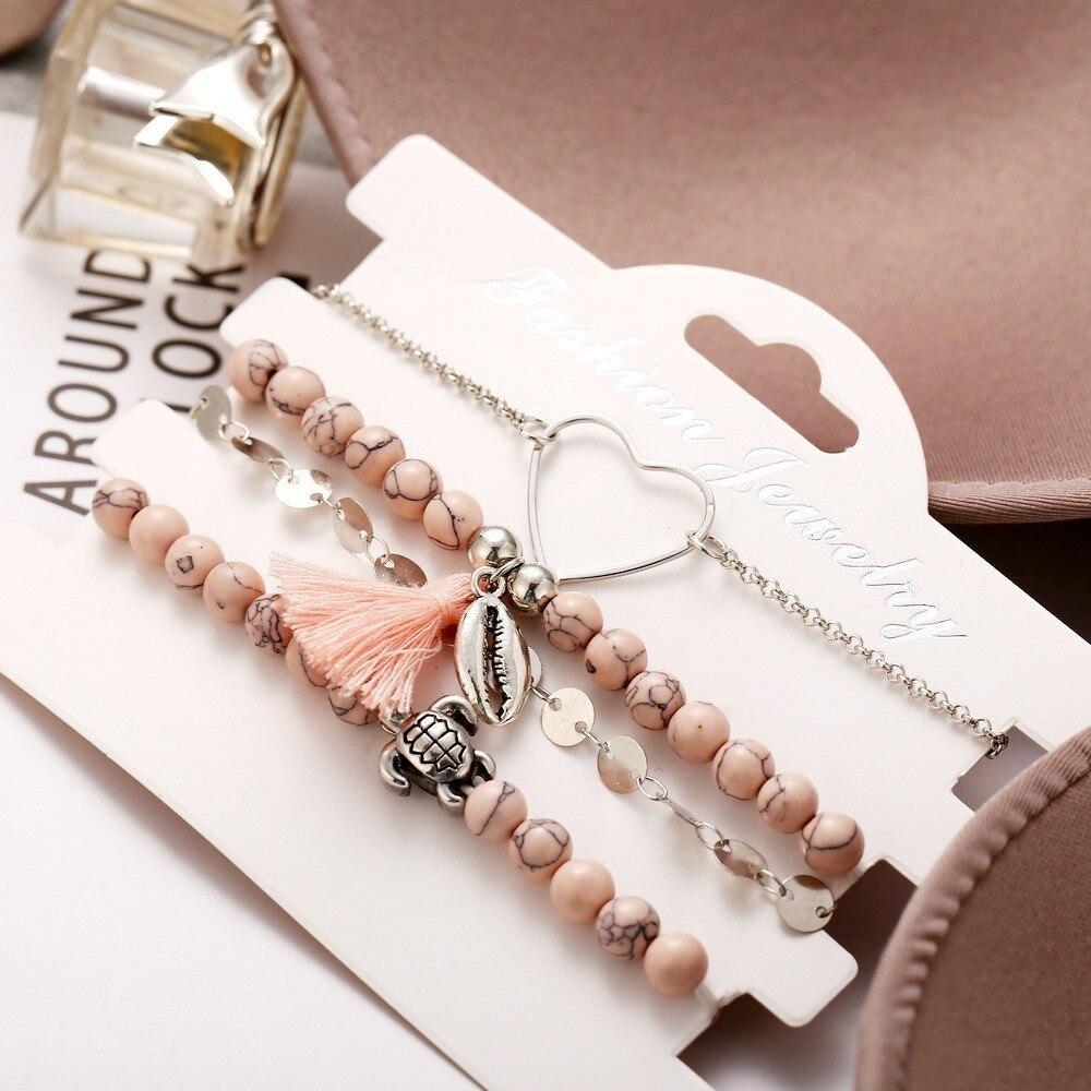 2019 Boho Charm Bracelets & Bangles Set Bohemian Vintage Beaded Multilayer Bracelets For Women Fashion Jewelry Wrap Accessories 4