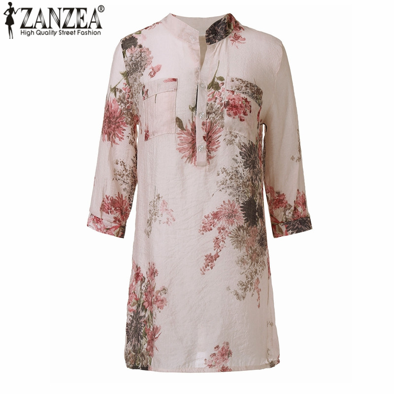 zanzea женщины блузки мода 2017 летние blusas блузка кнопка повседневная цветочный принт длинные топы футболки плюс размер м-5xl