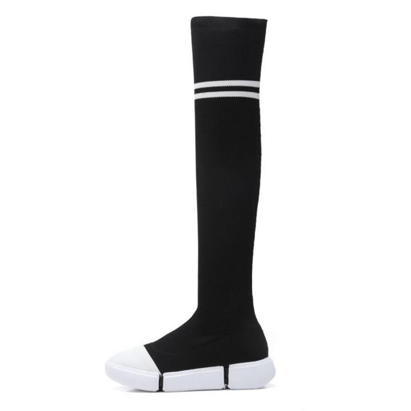 Taille Mode Longue Genou Femme Simple Bottes Dames Chaussures Plus D'hiver Appartements Noir 3541 De Couleur Femmes Mixte Kemekiss xoeCBd