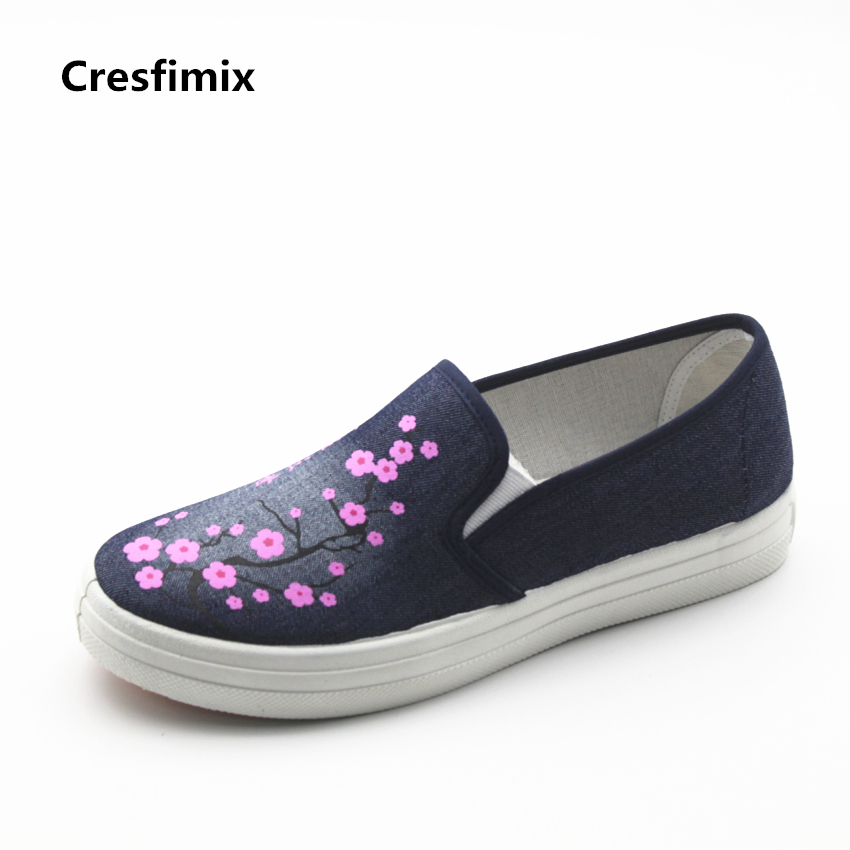Cresfimix zapatos de mujer women fashion spring & summer slip on flat shoes lady cute blue street comfortable loafers lady shoes cresfimix women cute spring