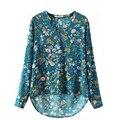 S-XL Plus Size Mulheres Elegante Do Vintage de Manga Longa Com Decote Em V Floral Blusas Pulôver de Algodão OL Camisas Casual Tops Blusa Solta
