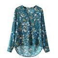 S-XL del Tamaño Extra Grande de Las Mujeres Elegantes de La Vendimia Floral Blusas de Manga Larga Con Cuello En V Jersey de Algodón OL Camisas Casual Blusa Suelta Tops