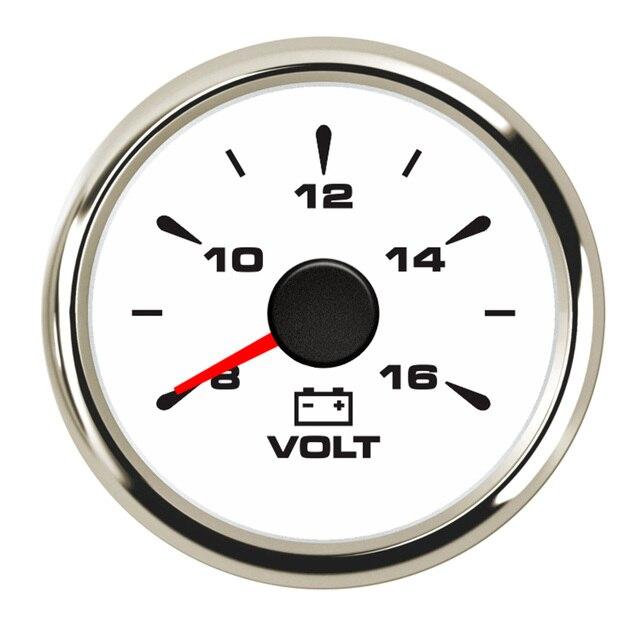 Marine Voltage Gauge Boat Car Volt Meters Gauge with 7 Colors Backlight Waterproof Voltmeter Indicator 9-32V 52mm 2 inch
