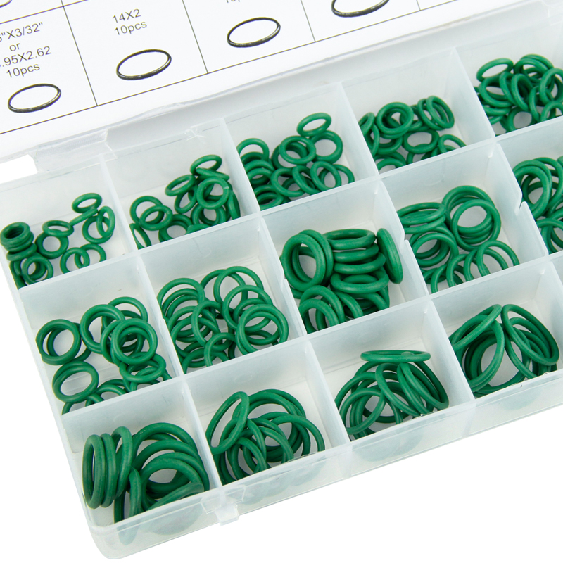 Automotive Yakamoz 222-Pieces 17-Sizes SAE Imperial Universal Rubber O-Ring Sealing Washer Assortment Kit for Plumbing General Repair Hydraulic Tool Set