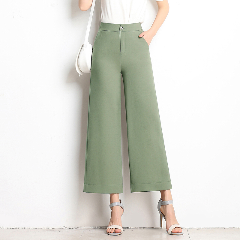 New Women's Cropped   Pants   Linen Large Size Loose High Waist Straight Flat Summer Trousers   Wide     Leg     Pants   Plus Size M To 6XL