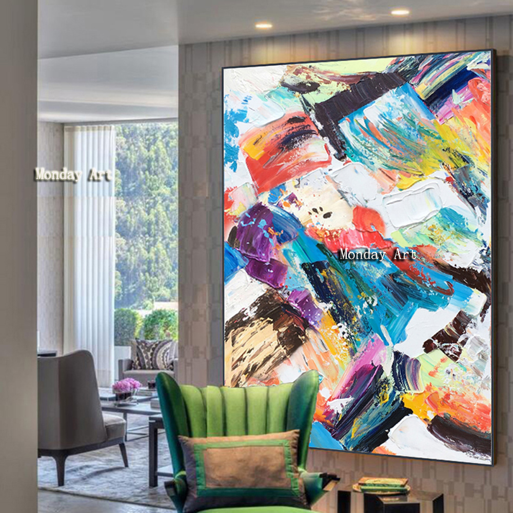 100 HandpaintedModern Abstract Canvas Painting Canvas Oil Painting on Canvas Poster Wall Art Picture for Living Room Home Decor in Painting Calligraphy from Home Garden
