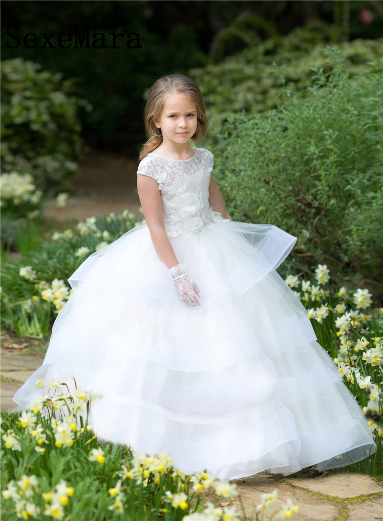 Romantic Little Girls Puffy Organza Flower Girl Dress for Weddings Lace Applique Ball Gown Girl Communion Dress Pageant Gown digoo dg bb 13 mw 9 99ft 3 meter long micro usb durable charging power cable line for ip camera device page 7