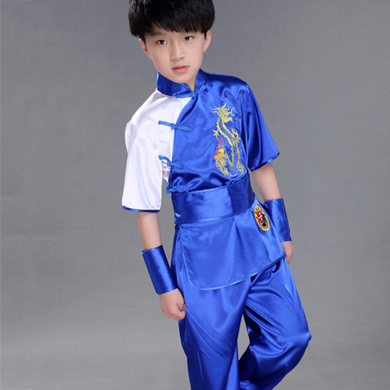 Children Chinese Traditional Wushu Costume Martial Arts Uniform Kung Fu Suit Boys Girls Stage Performance Clothing Top + Pants