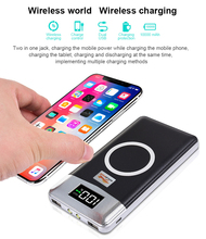 QI Wireless Charger 10000mah Portable Dual USB Power Bank with Digital Display External Battery Powerbank for