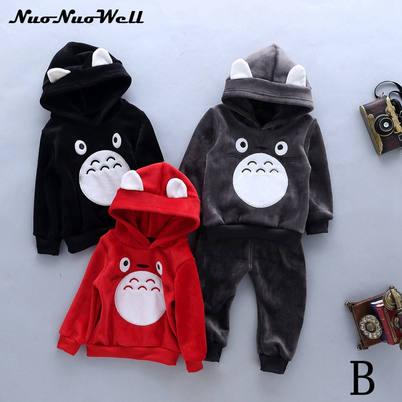 New Baby Boys Girls Sets in Winter 2pcs Autumn Warm Cartoon Hooded Cute Kids Girls Boys Clothes Winter Sets Vest+Coat+Pant 2015 new autumn winter warm boys girls suit children s sets baby boys hooded clothing set girl kids sets sweatshirts and pant