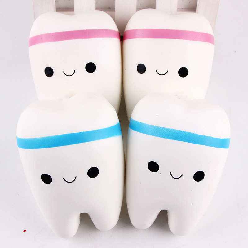 1PC 11CM Lovely Squishy Slow Rising Toy Soft Teeth For Adults Relieve Stress Jumbo Cell Phone Strap Pendant Toy For Kids Gifts