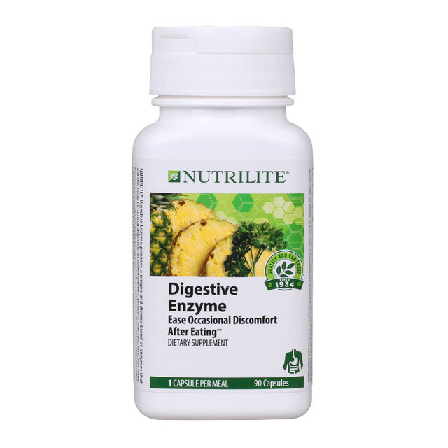 Digestive Enzyme Ease Occasional Dissomfort After Eating 90 capsules Free shipping