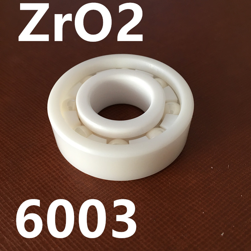 Free shipping high quality 6003 full ZrO2 ceramic deep groove ball bearing 17x35x10mm zro2 full ceramic bearing 6003 17x35x10mm ceramic bike repair bearing 1 piece