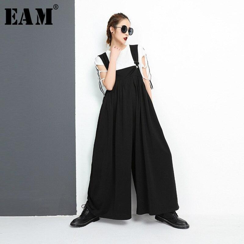 [EAM] 2018 новые летние модные черные свободные без бретелек личность Повседневное Вязание Широкие штаны женские комбинезоны прилив YC38801