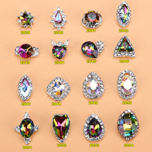 100PCS RAINBOW Oval Glass Flatback Rhinestone Button Embellishment for Crafts Accessories Silver Tone in Claw Setting 2039-2054