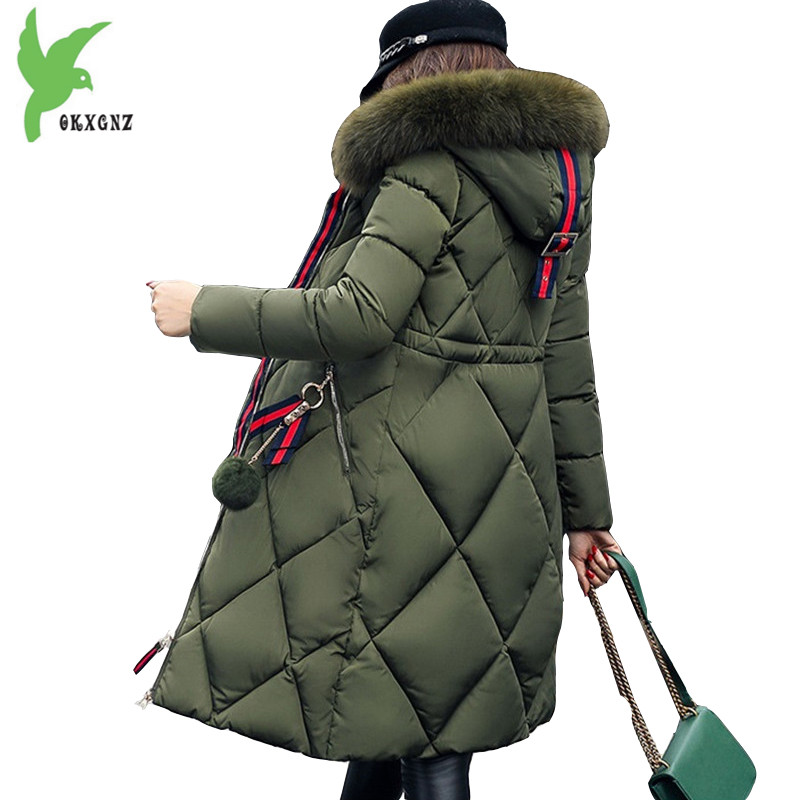 все цены на  New Winter Women Cotton Jackets Solid Color Hooded Fur Collar Long Coat Plus Size Thick Warm Fashion Casual Tops Coat OKXGNZ 739  в интернете