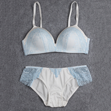 BRESNA Thin Cup Wire Free Bra With Lace Patchwork Lingerie Underwear Sets Women Brassieres New 2017 light Blue Pink Black