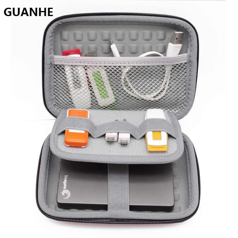 "GUANHE 2.5"" Hard Disk Case Portable HDD Protection Bag for External 2.5 inch Hard Drive/Earphone/U Disk Hard Disk Drive Case"
