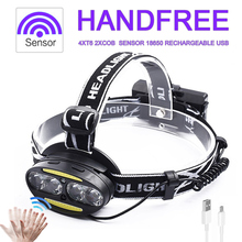 Head Lamp 4*T6 2*COB Sensor LED Headlamp Headlight Flashlight Lantern 50000lm 18650 Rechargeable USB Torch Fishing Hunting Light цена в Москве и Питере