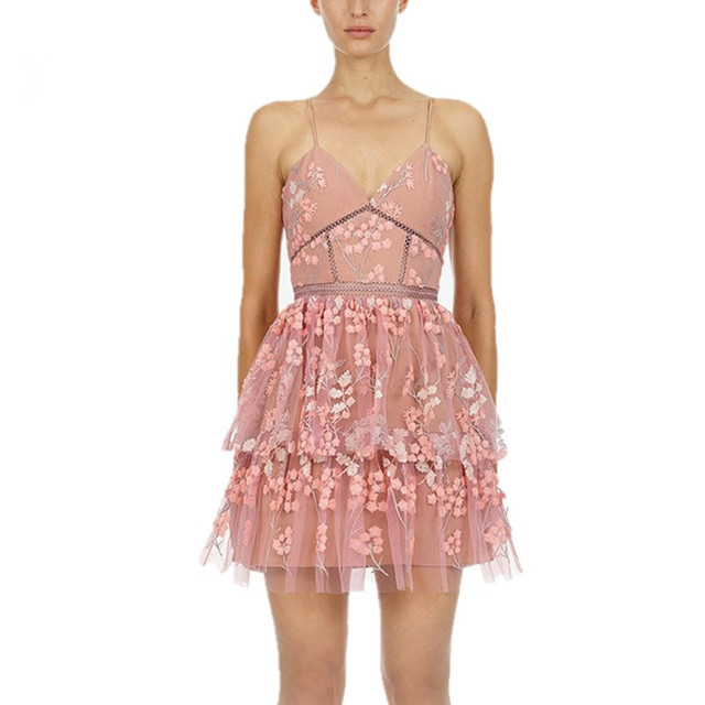 63845efa78591 US $59.92 44% OFF|High end Self Portrait Dress 2019 Women Sexy V neck  Strapless Pink Mesh Floral Embroidery Mini Dress Ruffle Chic Boho Dress-in  ...