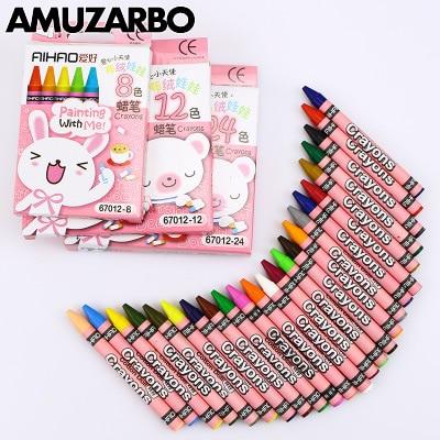 8 12 24 классический цвет нетоксичный hameless crayon Шелковый Гладкий для смываемых рисунков лучший подарок набор для детей школьные принадлежност...