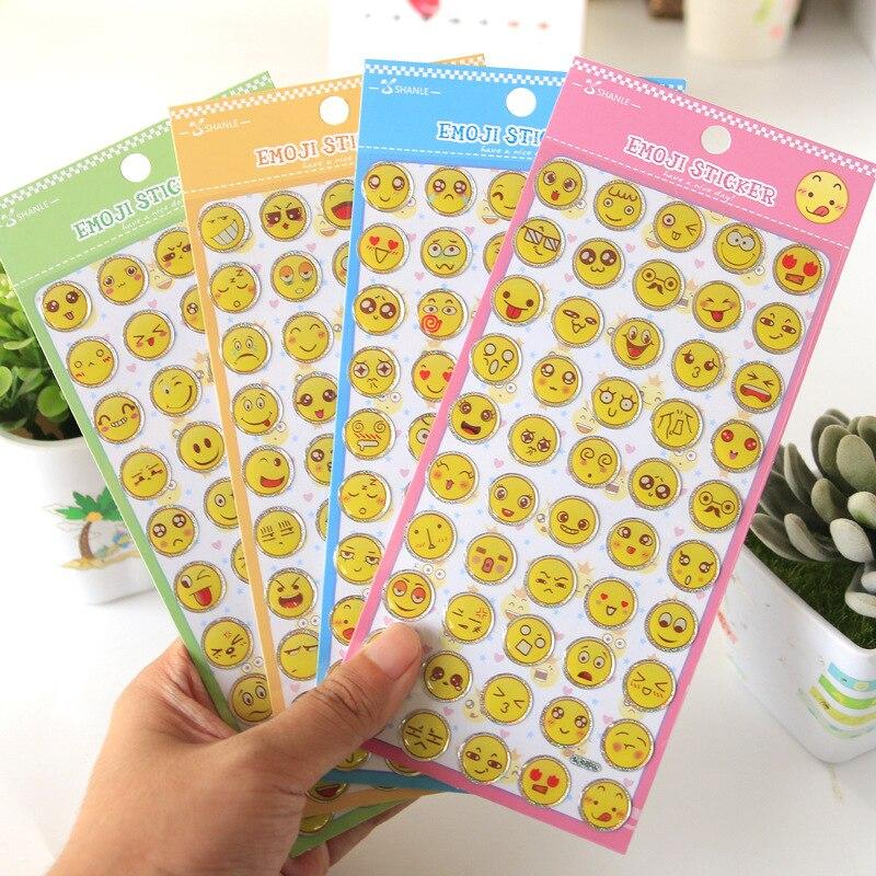 4 Sheets Cute Emoji Sticker Pack Smile Face DIY Scrapbook Sticke For Phone Decor