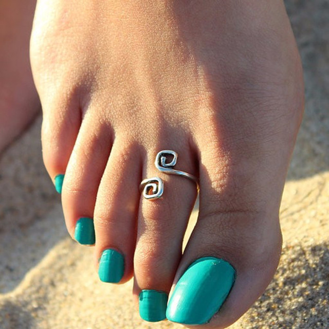 2018 New Free shipping Women Lady Unique Retro Silver Plated Nice Toe Ring Foot