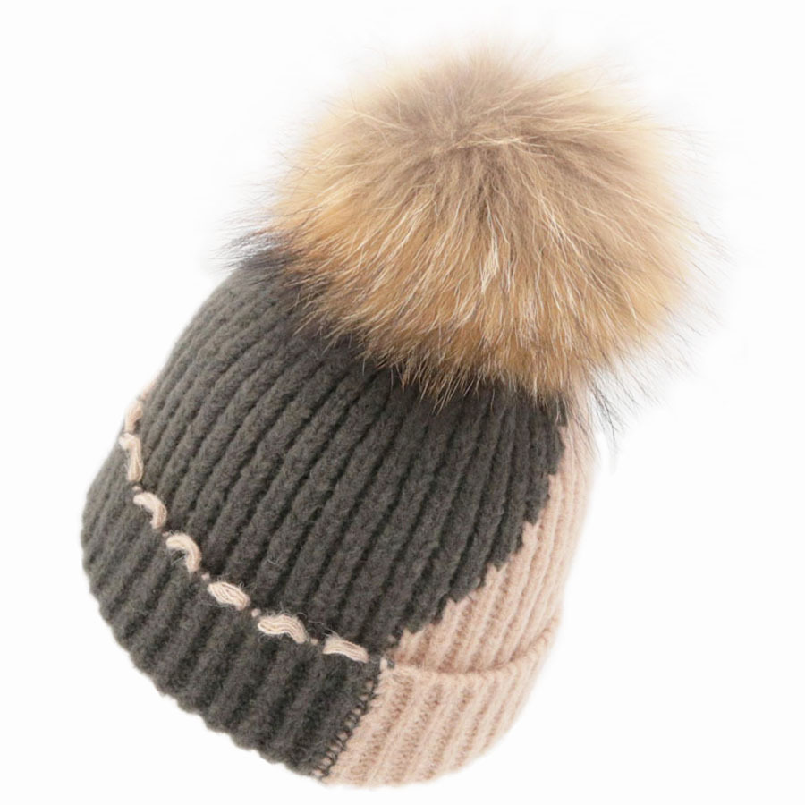 New Patchwork Women Winter Removable Fox Fur Pom pom Knitted   Skullies     Beanies   Caps Wool Fluffy Curled Fur Hats