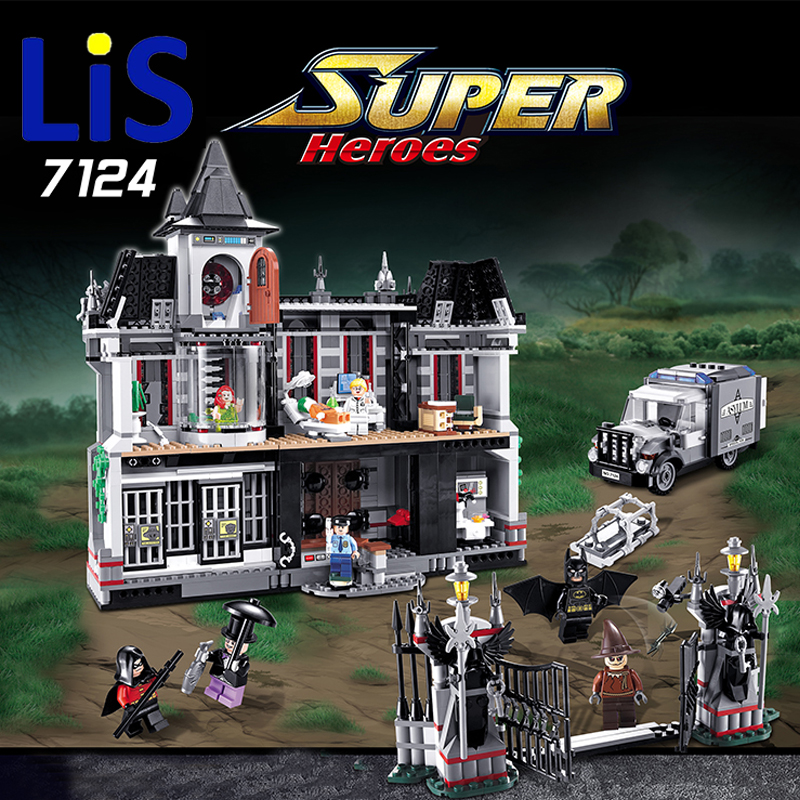 Lis New DECOOL 7124 Genuine Series Marvel Batman Movie Arkham Asylum Building Blocks Bricks Toys with Lepin 07055
