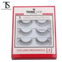 Thinkshow 5 Pairs Natural Long False Eyelash Handmade Lash Thick Fashion Makeup Fake Lash 3D Russia