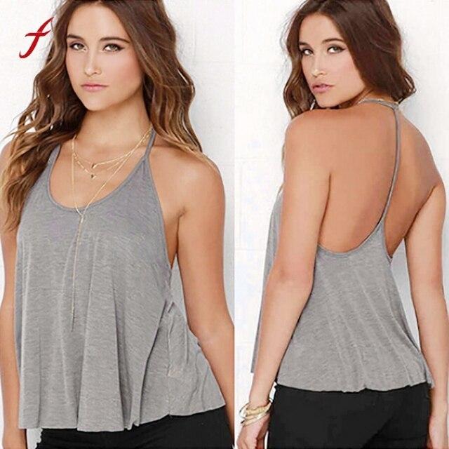 6810957445cdf 20192019 Fashion Summer Women Sexy Backless Tank Top New Sleeveless Loose Grey  crop Tank Tops Casual Shirt Blouse Female