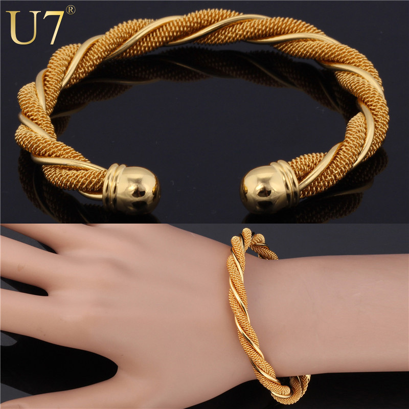 Aliexpress Com Buy U7 Twisted Bangle Bracelet Trendy