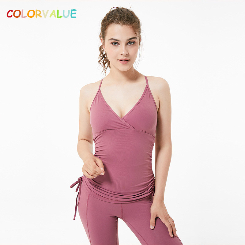 Colorvalue Verstelbare Side Koord Sport Yoga Vest Vrouwen Sexy V-hals Gym Dance Tank Tops Anti-zweet Terug Mesh Workout Top