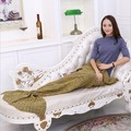9colors Yarn Knitted plaid Mermaid Blanket adult kids Super Soft Sleeping Bed sofa Handmade Fish Style Little Tail Blankets