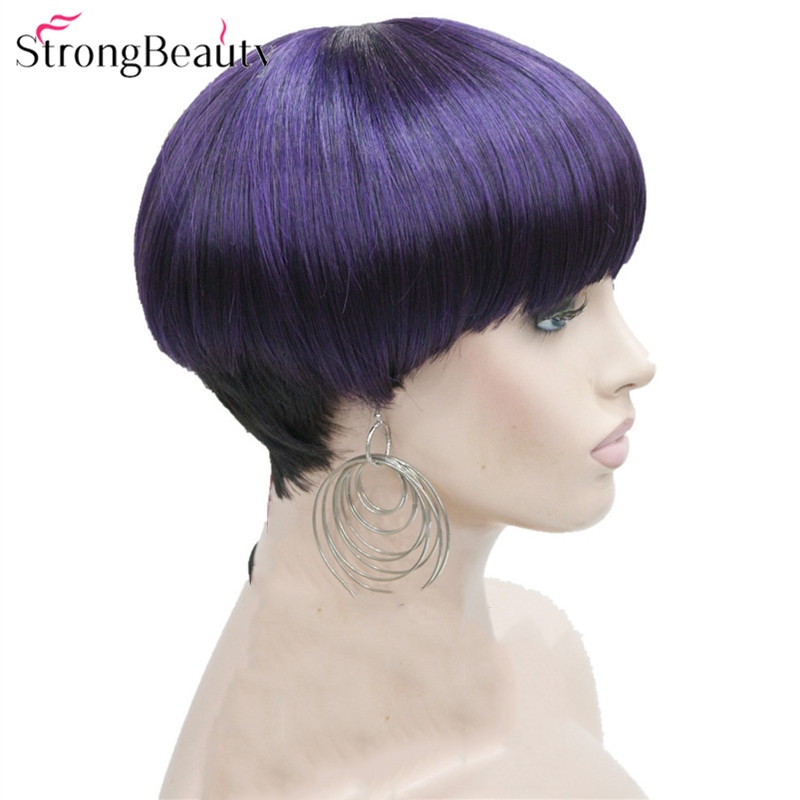 StrongBeauty Short Wigs Women Synthetic Brown/Purple Hair Mushroom Haircut Fiber Capless Wig