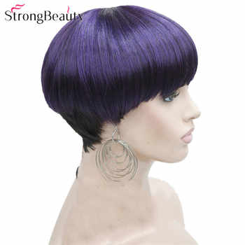 StrongBeauty Short Wigs Women Synthetic Brown/Purple Hair Mushroom Haircut Fiber Capless Wig - DISCOUNT ITEM  20 OFF Hair Extensions & Wigs