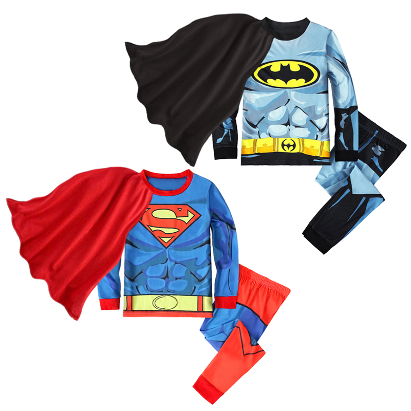 Children 100% Cotton Superman   Pajamas   2019 New Spring Winter Batman Long Sleeve Home Boys Suit Kid Boys Clothes Cartoon 2Pcs   Set