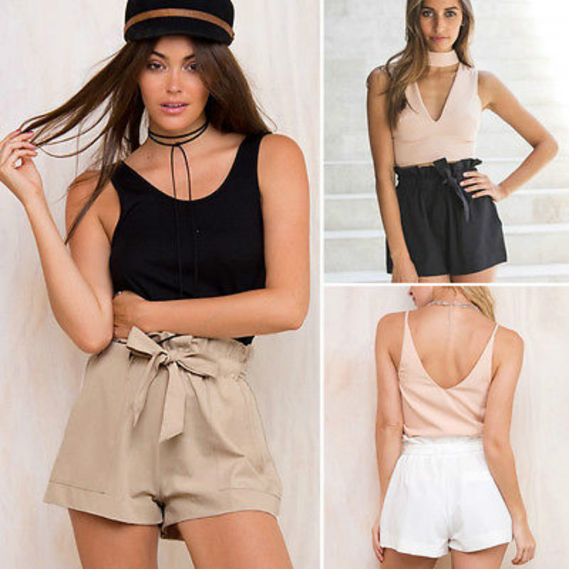 Women Ruffle High Waist Pants Snake Print Belt Slim Loose Casual Shorts  Trousers