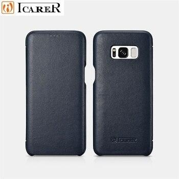 ICARER Luxe Lederen Telefoon Flip Folio Case Cover Voor Samsung S8Plus Volledige Beschermende Magnetic Case Voor Samsung Galaxy S8
