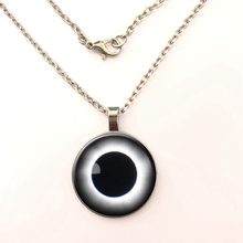YSDLJG Total Solar Eclipse Necklace Space Jewelry Galaxy Nebula Pendant Nerd Gifts Glass Cabochon Link Chain