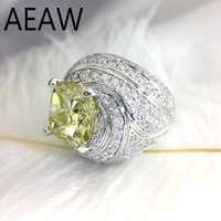 4 Carat ct Golden Cushion Cut Engagement&Wedding Moissanite Diamond Ring Double Halo Ring Genuine 10K White Gold