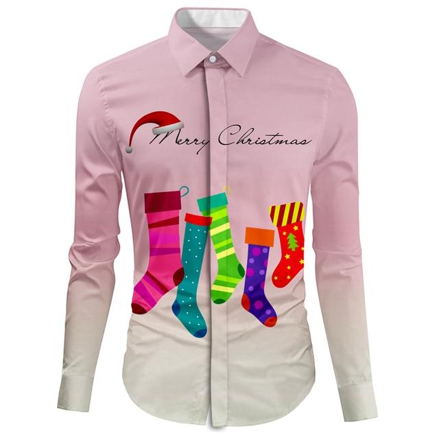 Kerst Overhemd.Cloudstyle Man Party Shirt Kerst Sok Schilderen Kraagvorm Camisa