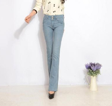 Plus size straight pants for women denim jeans casual light blue full length spring autumn new fashion casual trousers kkd0601